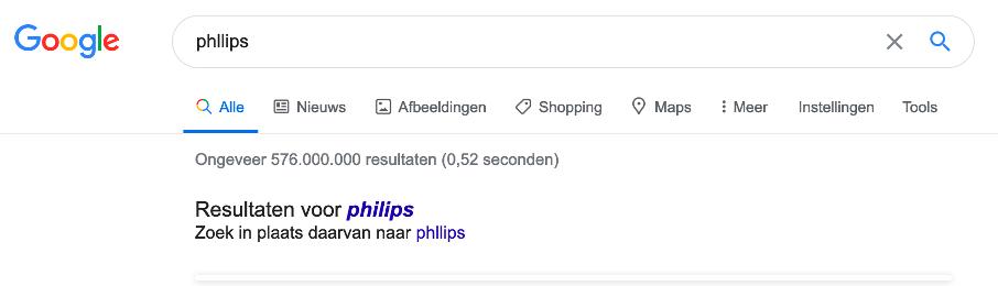 Google zoekopdracht & correctie bij foute spelling Philips