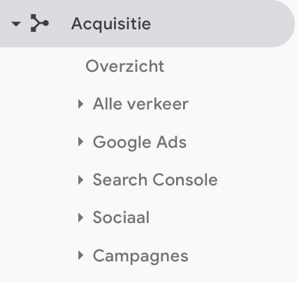 Rapporten 'acquisitie' Google Analytics